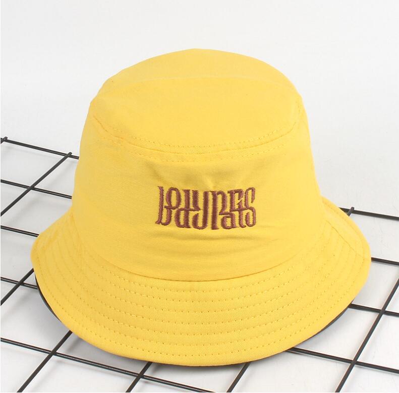 d0abd7d8c4f 2018 Creative monogram Bucket Hat Unisex Foldable letter Bob Cap Hip Hop  Gorros Men Summer Caps Panama Fishing Bucket Hat yellow-in Bucket Hats from  Men s ...
