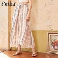 Artka 2018 Autumn New Women Loose Lace Stitching Printed High waist Drawstring Side Split Chiffon Wide Leg Pants KA15082X