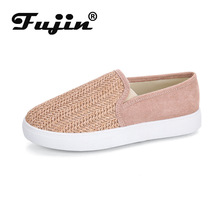 Fujin Women Flats Dropshipping European and American Style Ladies Casual Shoes Canvas Woven Womens Large Size 35-43