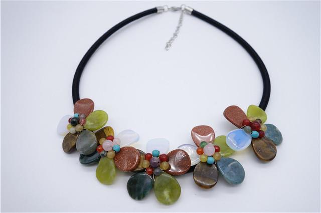 Joyería de moda Collar de la Flor de Cuarzo Natural turquesa Ágata Amatista Colgante de Piedra Collar del Día de San Valentín Regalos