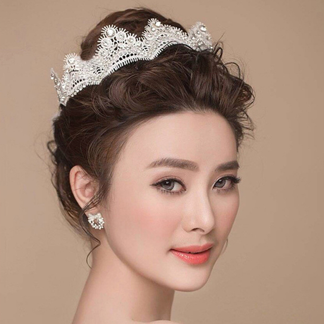 New Angle Lace Crystal Wedding Hair Accessories Tiaras Crown Bridal