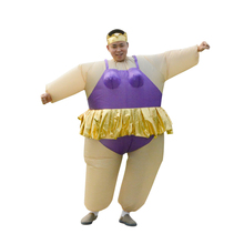 Cute Adult Inflatable Ballerina Costume Fat Suit For Air Fan Operated Blow Up Cosplay Party Fancy Jumpsuit Outfit Grow