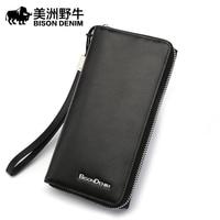 BISON DENIM Brand Top Quality Men Wallet Genuine Leather Large Capacity Clutch Bag Cowhide Purse Men