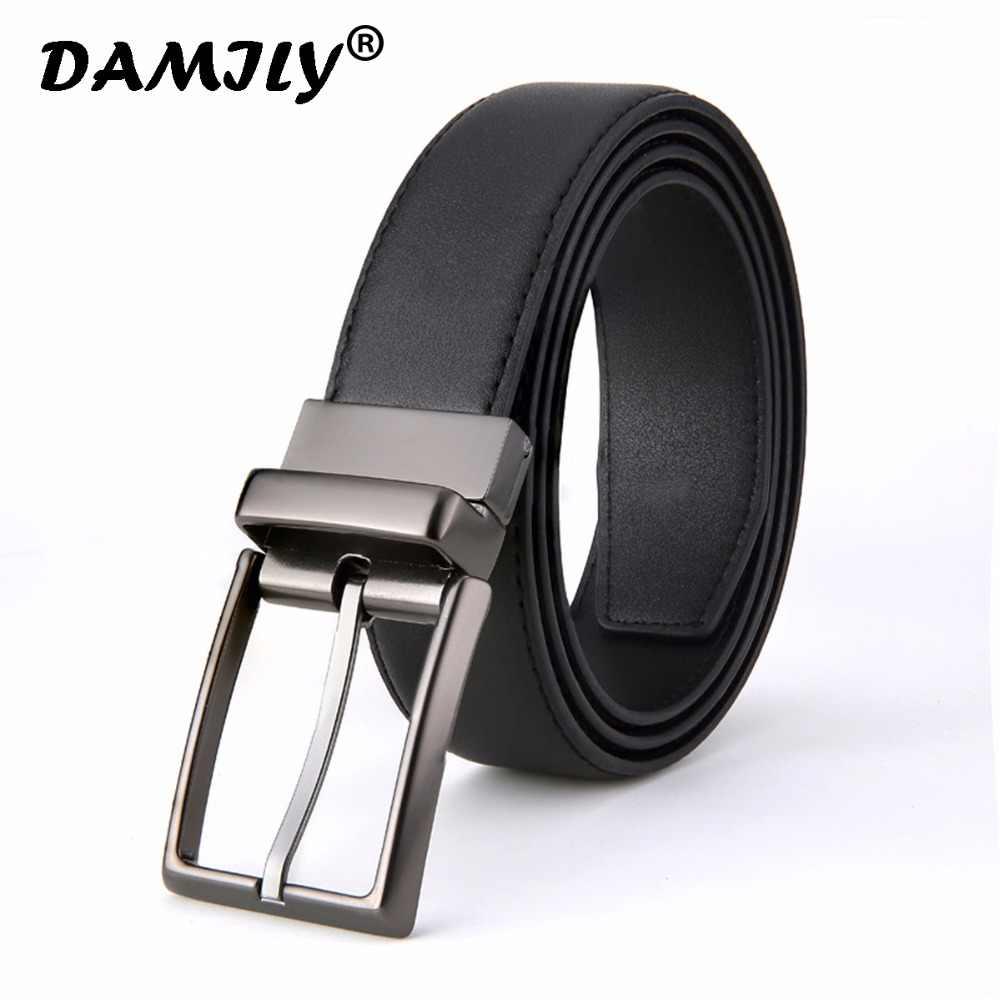 03bfdd5ecf 2018 Revolvable Buckle Belts For Men Formal Business Genuine Leather Belt  With Double Side Solid Black
