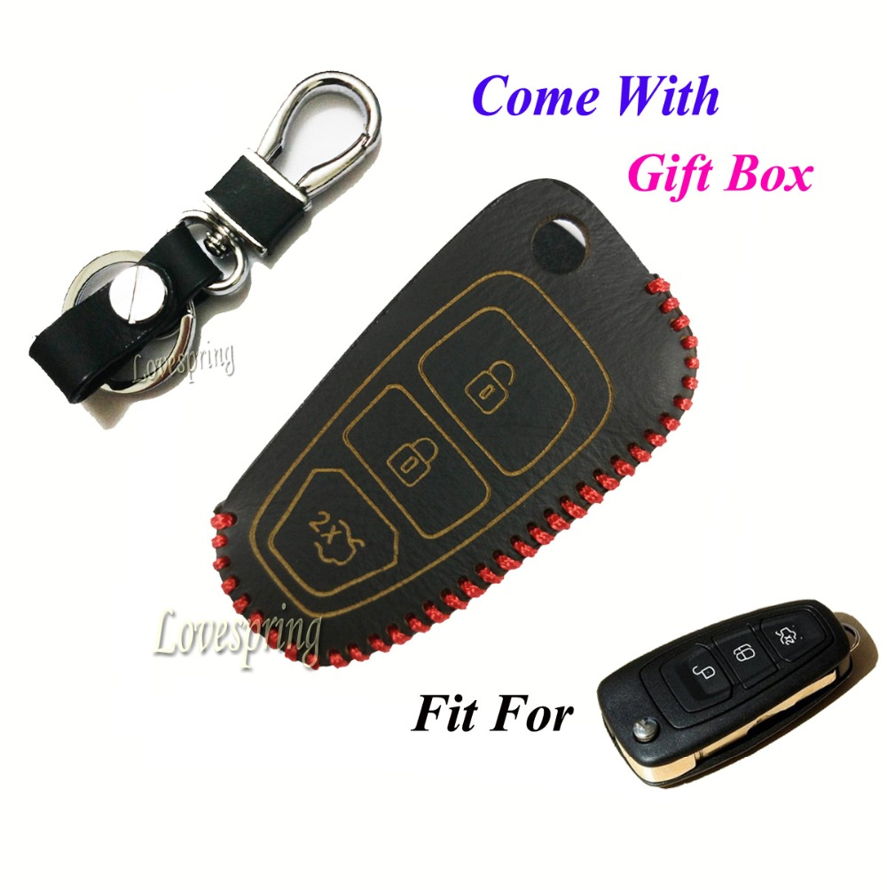 New gift leather flip car key case cover for ford ranger focus fiesta mondeo 2012 2013 3 buttons ford car cover remote shell fob