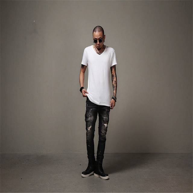 Man Si Tun Ripped jeans Hip-hop jeans Men's Fashion swag biker jeans hole straight jeans brand Kanye West David Beckham style