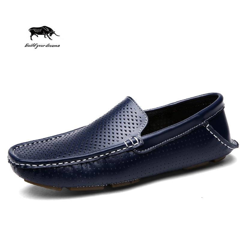 Cuero genuino de los hombres zapatos de Verano de los hombres ocasionales zapato