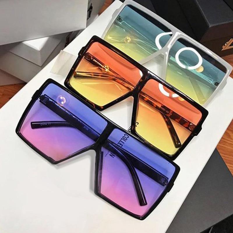 Vintage Oversized Square Sunglasses Women Retro Men Gradient Shades Sun Glasses Luxury Brand Flat Top Red Blue Clear Lens UV400