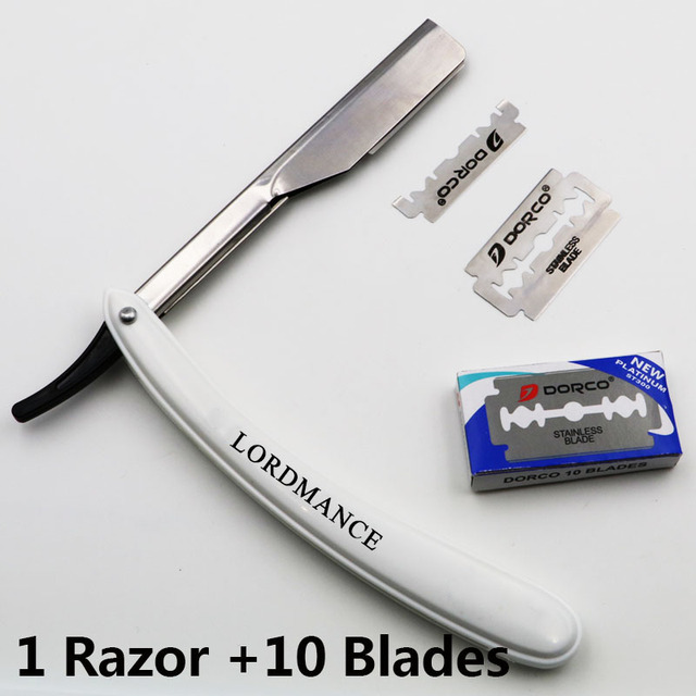 1 satz Männer Gerade Barber kanten Rasierer Folding Rasiermesser Haarentfernung Werkzeuge Mit 10 stücke Klingen