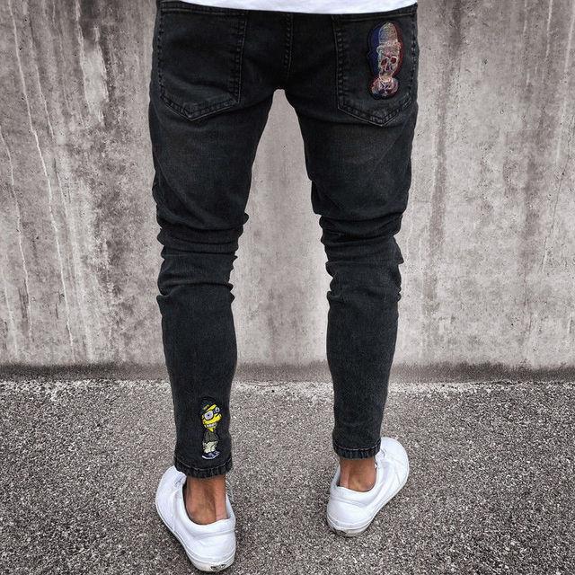 2018 Fashion Mens Jeans Fortnite Skinny Rip Slim Stretch Denim Distress Frayed Biker Jeans Boys Embroidered Pencil Trousers 5