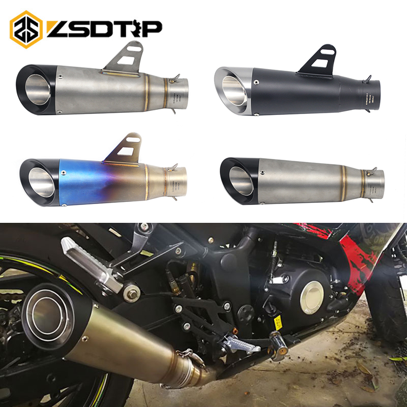 ZSDTRP 51 mm Modified Motorcycle Dirt Bike Exhaust Escape Scooter Exhaust Muffler For Kawasaki Z800 Z900 Yamaha R6 ZX6R