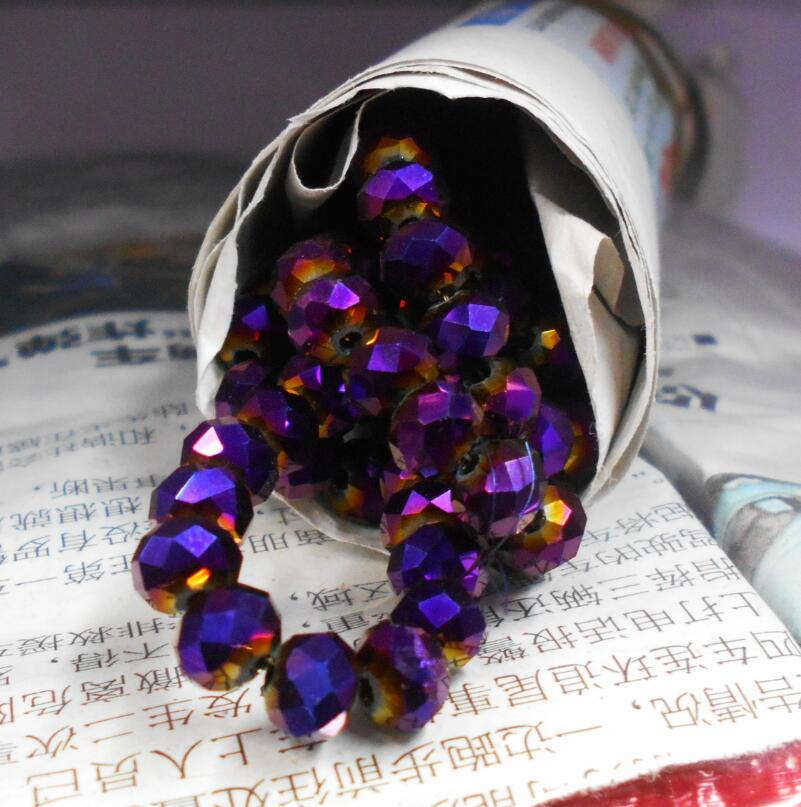 Shining Purple Color 8mm 70pcs Rondelle Austria faceted Crystal Glass Beads Loose Spacer Beads for Jewelry