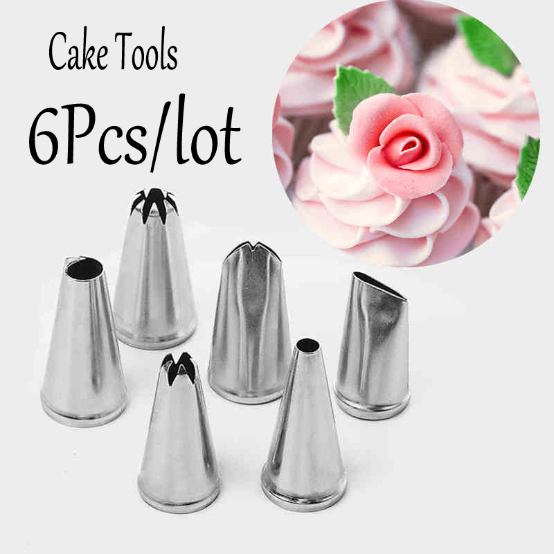 Nozzle Baking & Pastry Tools cake Decorating Tip Sets cookie metal tools kitchen home  6pcs/lot  wholesale