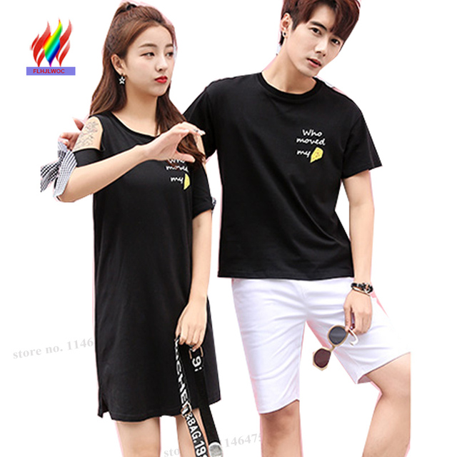 14cf976da Sweetheart Lovers Clothes Couple T Shirt Dress Summer Short Sleeve Girls  Little Black Bow Tie Hollow