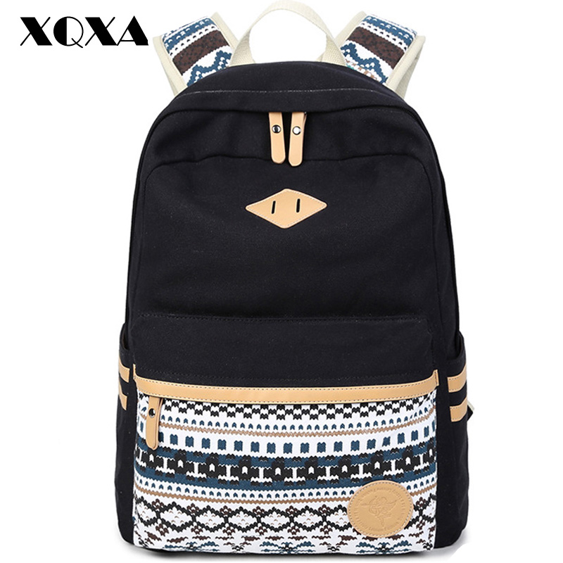 XQXA Vintage Backpack Women Laptop Bag Canvas Printing School Bags for Girls Rucksack Mochila Feminina Escolar Black hangqiao baby 3 layers white burp cloths cloth diapers cotton diapers diapers diaper