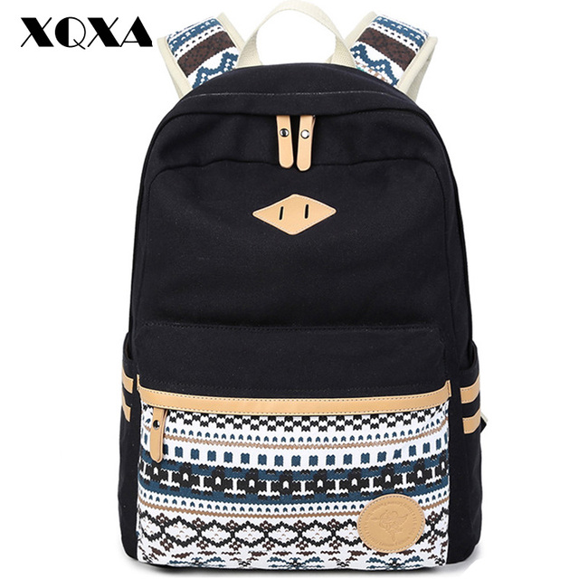 a0286cb60c4e XQXA Vintage Backpack Women Laptop Bag Canvas Printing School Bags for Girls  Rucksack Mochila Feminina Escolar Black