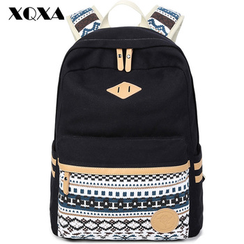 114449a1319b XQXA Vintage Backpack Women Laptop Bag Canvas Printing School Bags for  Teenagers Girls Rucksack Mochila Feminina Escolar