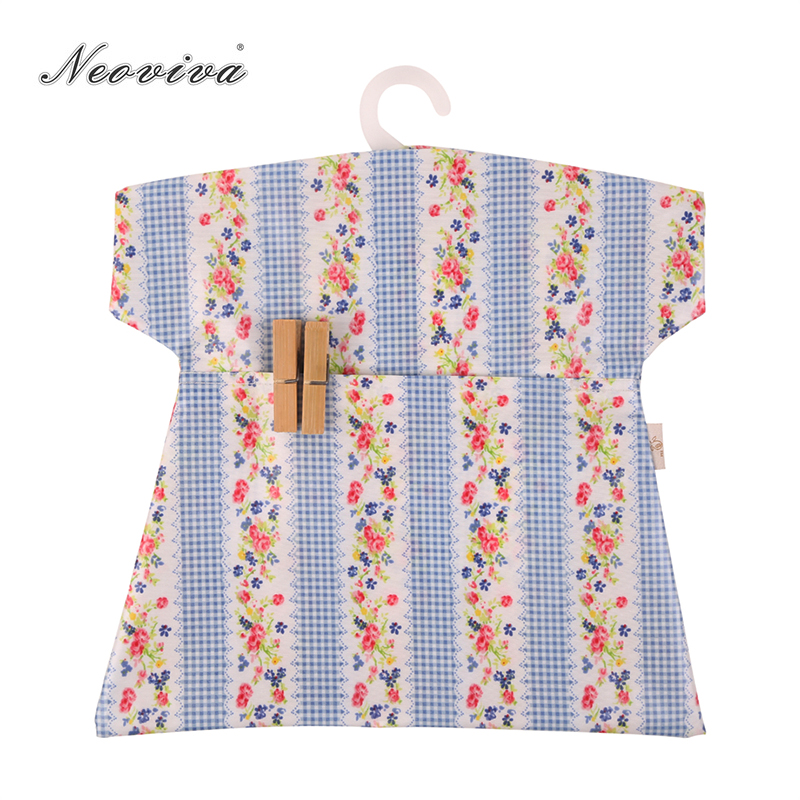 Neoviva Waterproof Clothespin Bag For Laundery Room, Pack Of 2, Striped Floral Violet Tulip