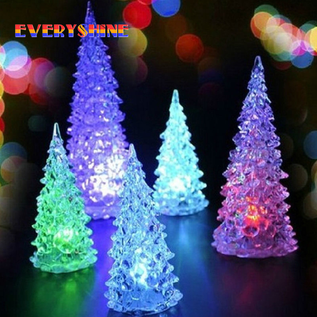 Christmas Decoration LED Night Light,Glass Crystal Christmas tree Night Lamp, Halloween Gifts Seven Color Changing SD7