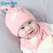 ZMAFOX newborn baby hat beanie cap bib suit 2019 new 100% cotton toddlers infants cartoon hats for 0-12 months boys girls