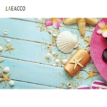 Laeacco Summer Starfish Wooden Boards Floor Shell Scene Photography Backgrounds Portrait Photographic Backdrops For Photo Studio