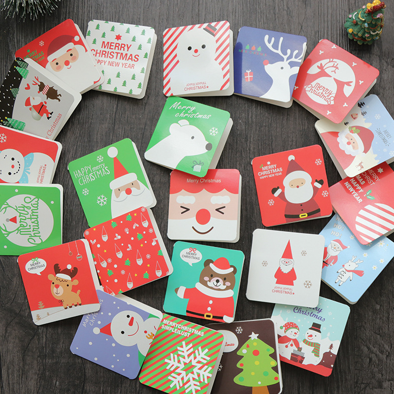 12pcs/pack Merry Christmas Mini Greeting Cards With Envelopes Blessing Postcard Birthday Letter Envelope Gift Card 7*7cm