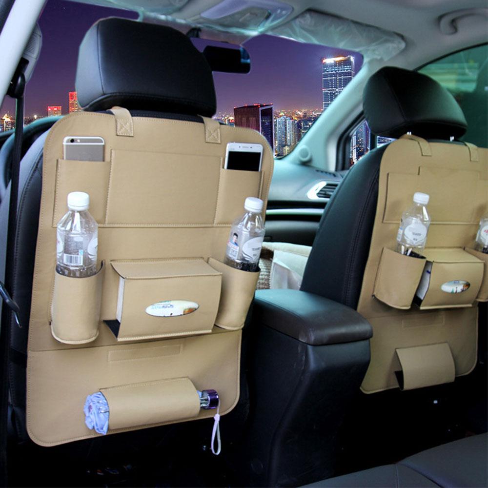 Vehemo искусственная кожа хранение сиденья автоматическое хранение многофункциональное автомобильное место для хранения уход универсальная защита - Название цвета: beige