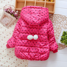 2016 new girls fashion warm Outwear Children cute cotton winter clothes princess coat Jackets for Kids 3-5 years old