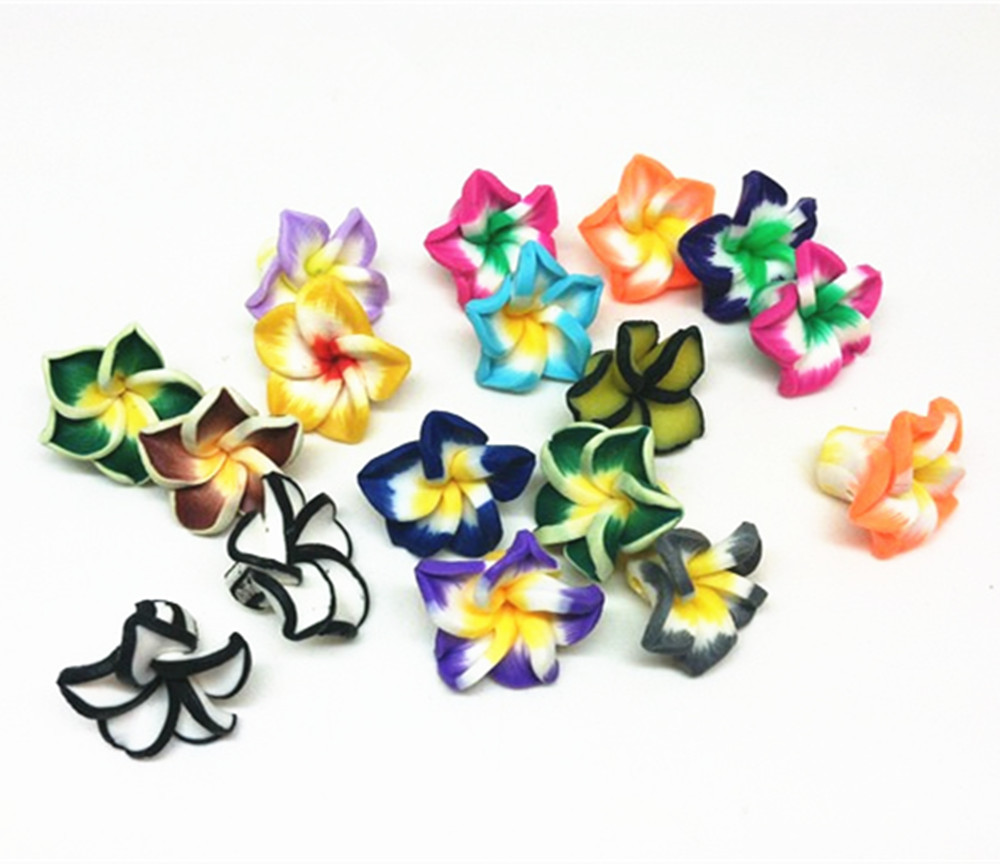 50pcs Handmade 15mm Multi Fimo Clay Flowers Spacer Beads Cabochons Flatbacks Embellishments Nail Arts Making