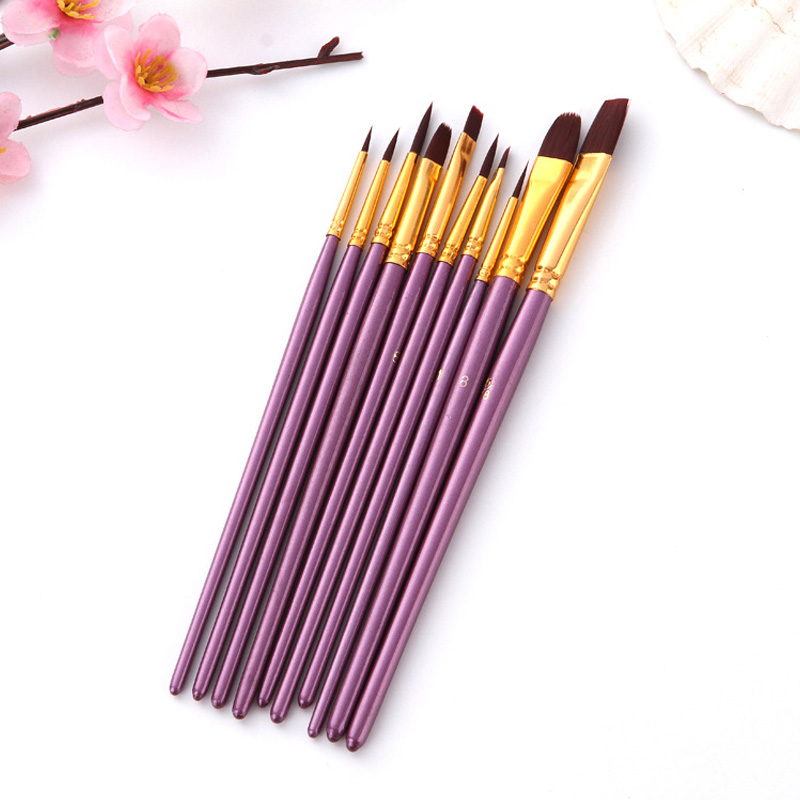 Drawing Art Supplies Watercolor Acrylic 10 Pcs Paint Brushes Office School Supplies Painting Supplies Nylon Hair Oil Brush
