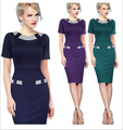 2016 New Spring Woman Cotton Spandex Sheath Short O-Neck Knee-Length Vestidos Girl Lady Black Green Pink 4 Color Brief Dress