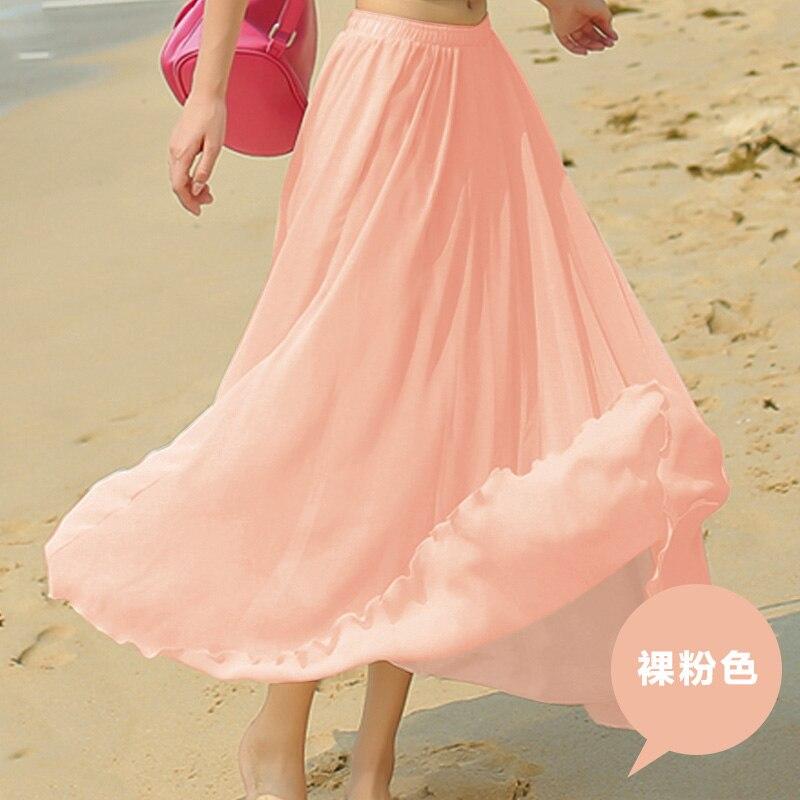 2017spring all-match chiffon skirt waist fold slim skirt pleated skirt Department summer slim skirt