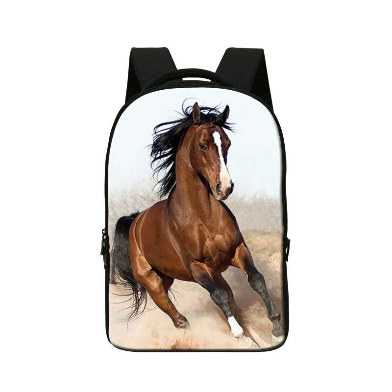Peluche cheval 3D impression sacs à dos pour les étudiants, sac à ordinateur portable, sac d'ordinateur pour hommes, sac de livre Cool pour les garçons, Packs de jour mochila