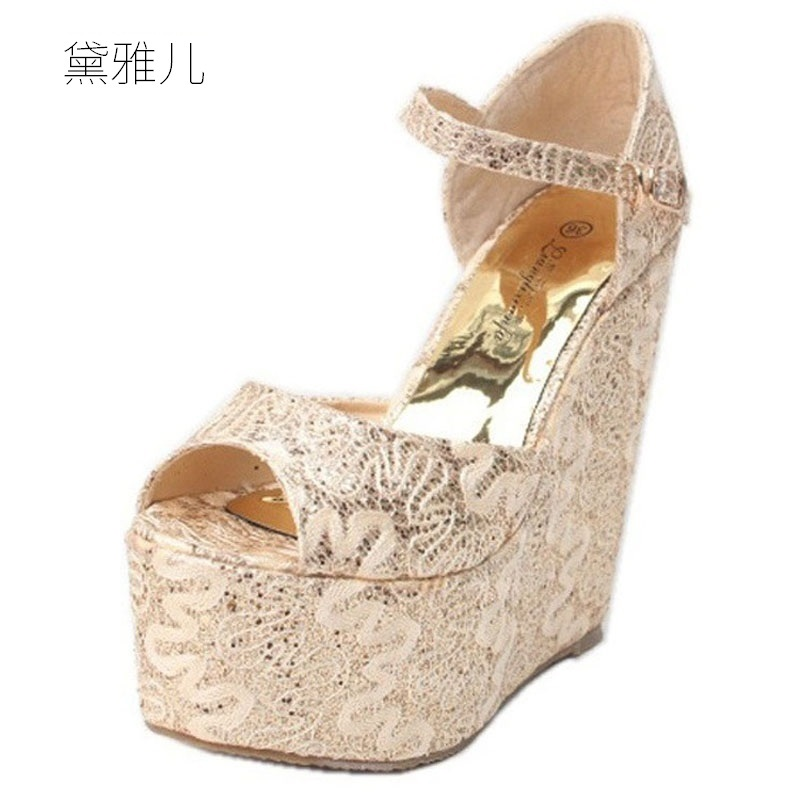 2018 Plus Small Size 30-43 Gold Summer Style Sexy Wedges High Heels Sandals for Women's with Shoes Woman Wedding Dress Ladies 2018 plus size 40 50 summer style fashion red sexy high heels for sandals women s with female shoes woman wedding ladies black
