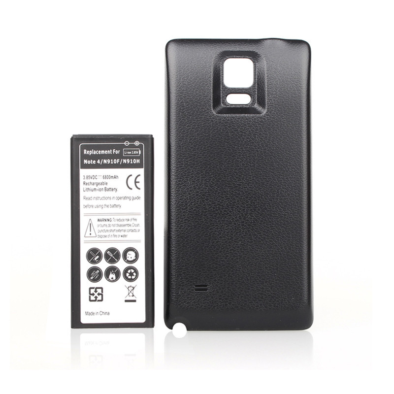 6800mah Cell Phone Extended Phone <font><b>Battery</b></font> For Samsung Galaxy Note IV 4 Note4 <font><b>N9100</b></font> N910F N910H N910 + black Back Door Cover Case