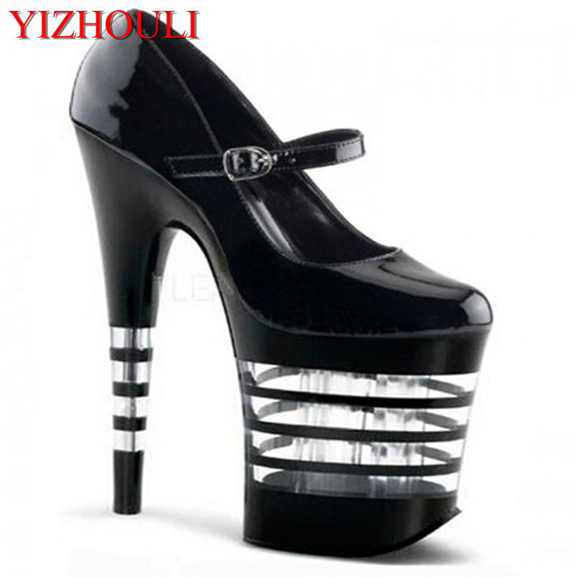 8 polegada Bomba Moda Womens Plataforma Stiletto Sapatos De Salto Alto 20 cm  Sexy Tarja Preta bd29bf7b7f5e