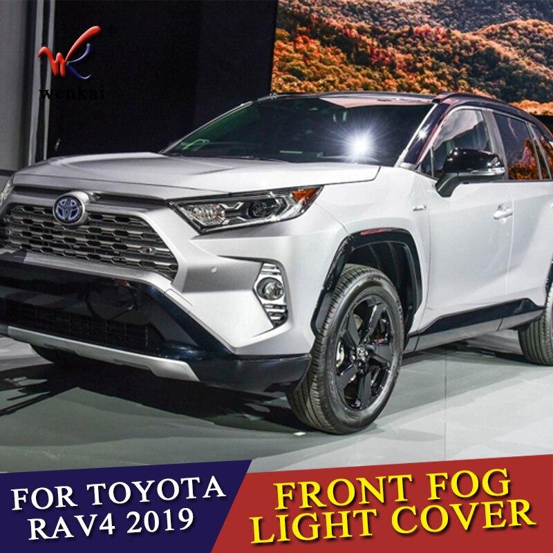Wenkai 2PCS SET Chrome Car Back Rear Front Fog Light Lamp Cover Trim For Toyota RAV4