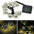 10 Bolas Marroquí Luces de Cadena Solar Powered LED Luces de Hadas de la Navidad al aire libre Decoración Del Banquete de Boda Del LED luces de hadas solar