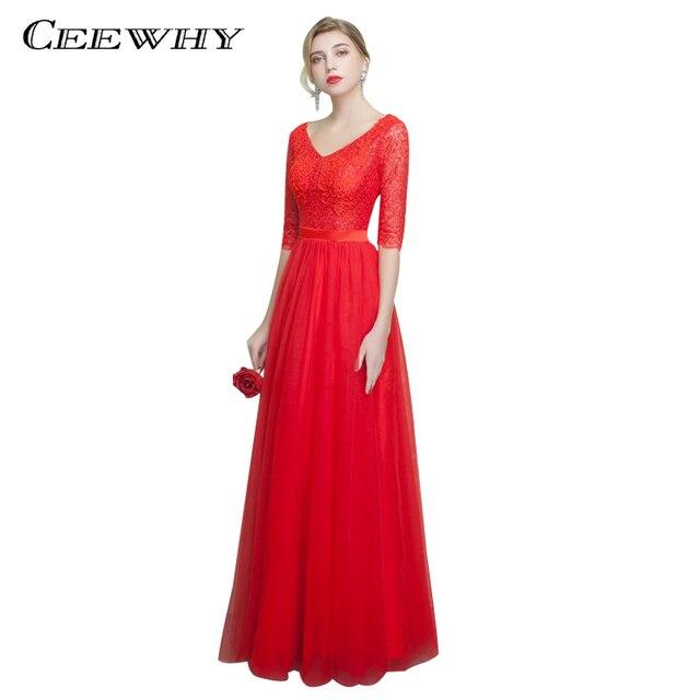 CEEWHY V-Neck Red Long Dress Vestido de Festa Longo Plus Size Embroidry  Evening Dress Half Sleeve Wedding Party Dress Abiye 12632cfe652e