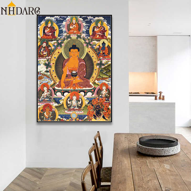 Sakyamuni Buddha Religious Belief Thangka Canvas Print Painting Poster Art Wall Pictures for Living Room Hallway Home Decoration