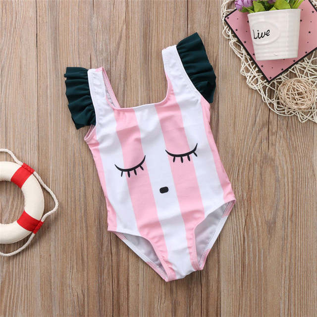 0d1472a71e Baby Girls Swimwear Pink/White Striped Eyes Pattern 0-3Y Kids Swimming Wear  Children One Piece Bathing Suit Summer Beach Wear