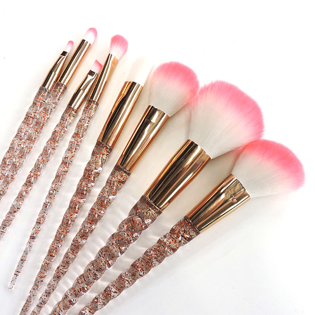unicorn brush set. crystal 8 pcs unicorn brush makeup set nylon hair eyebrow eyeshadow powder rose golden b