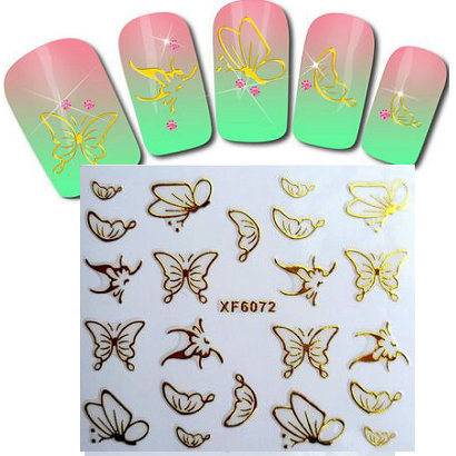hot sale Nail sticker gold foil sticker golden butterfly  patch applique nail decoration Nail Polish stickers nail tool