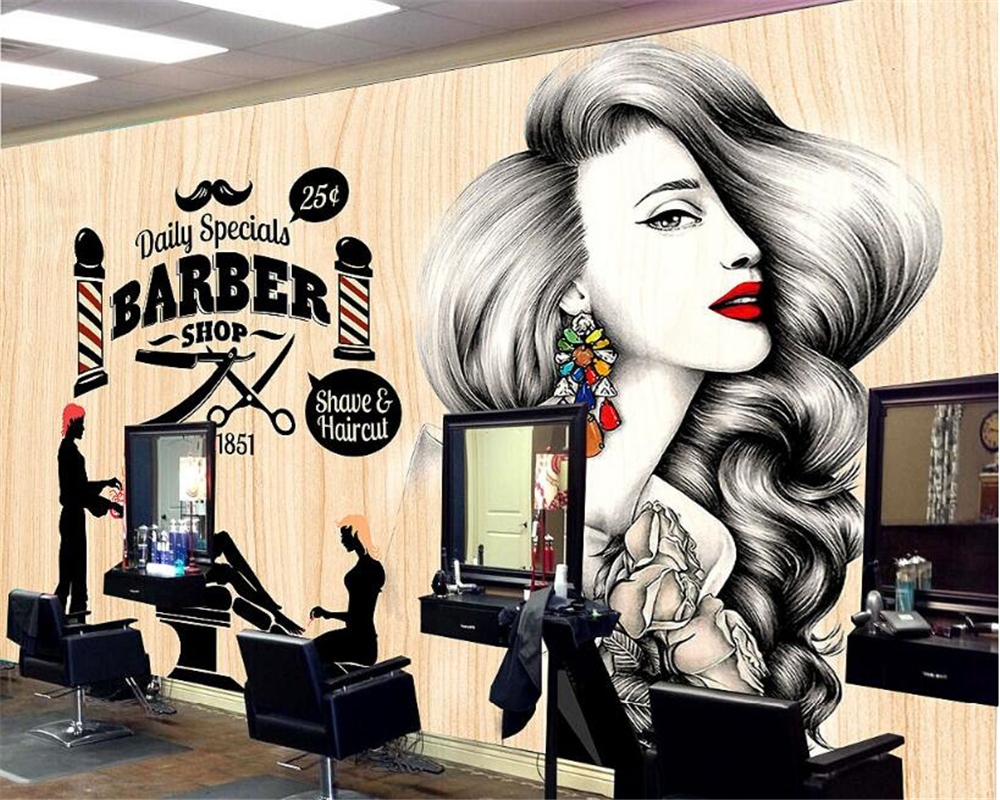 Beibehang Simple Fashion Personality 3d Wallpaper Beauty Salon Background Barber Shop Nostalgic Retro Makeup Wall Paper