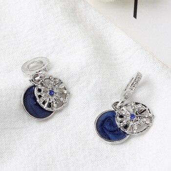 925 Sliver Bead Rose Gold Enamal Pendant Dangle Charm Fit Pandora Bracelet Necklace DIY 5