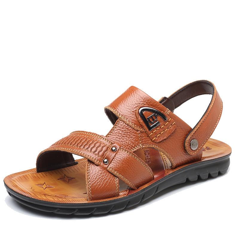 2018 poletje nove moške sandale usnjeni prvi sloj usnjene sandale - Moški čevlji
