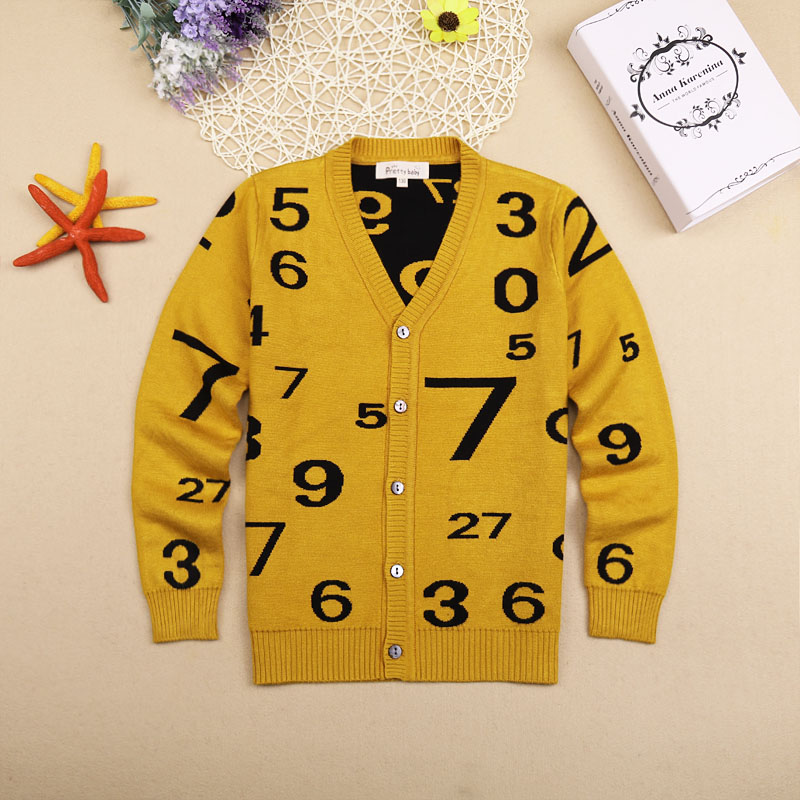Image 2 - Boy V neck Sweaters Fashion Children s V collar Cotton Knitting Cardigans Teenage Boys Autumn Double Warm Sweater for Boyssweater for boyssweater 2016winter sweater for boys -