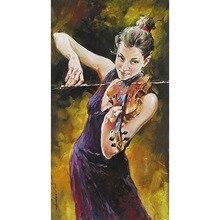 Handgemalte Violine weibliche künstler hochwertige Abstrakte Ölgemälde Leinwand Dekoration Wohnzimmer Kunstwerk Kunst