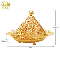 10 Piece Gold Fruit Serving Tray Golden Flower Candy Plate Decorative For Wedding Party Supplies Christmas