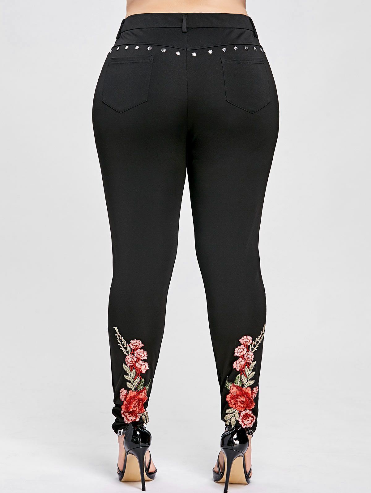 aa1b39e6c51 Detail Feedback Questions about Kenancy Women Plus Size Floral Embroidery  Rivet Pencil Pants Fashion Lady Pants Trousers High Elastic Pants Casual  Skinny ...